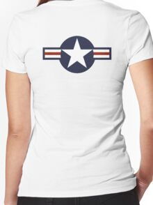 AIR FORCE, AMERICAN, USAF, Roundel, United States Air Force, aircraft, United States Navy, United States Marine Corps Women's Fitted V-Neck T-Shirt