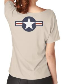 AIR FORCE, AMERICAN, USAF, Roundel, United States Air Force, aircraft, United States Navy, United States Marine Corps Women's Relaxed Fit T-Shirt