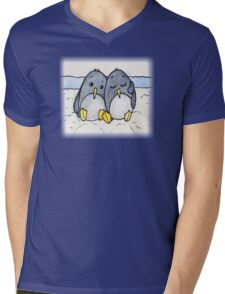 Cuddling Penguins Mens V-Neck T-Shirt