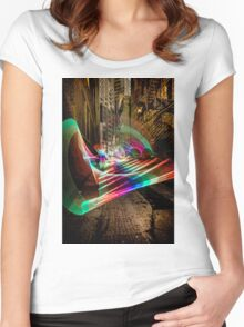 Nightime alley scene with pixel stick light painting Women's Fitted Scoop T-Shirt