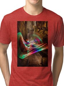 Nightime alley scene with pixel stick light painting Tri-blend T-Shirt