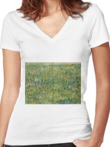 Vincent Van Gogh - Patch of grass Women's Fitted V-Neck T-Shirt