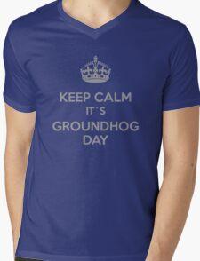Keep Calm it´s Groundhog Day Mens V-Neck T-Shirt