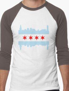 Chicago Flag Skyline Men's Baseball ¾ T-Shirt