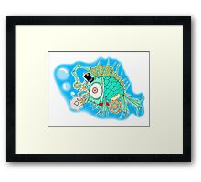 Whimsical Steam Punk Fish Framed Print