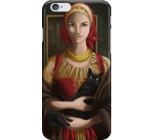Woman with Cat iPhone Case/Skin
