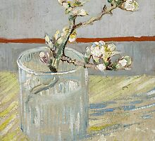 Vincent Van Gogh - Sprig of flowering almond in a glass, March 1888 - 1888 by famousartworks
