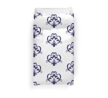 Elegant Navy Blue Floral Pattern Duvet Cover