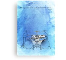 Drums quote blue Canvas Print