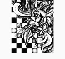 Pen and Ink Flowers on Checkerboard Unisex T-Shirt