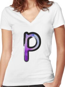 Watercolor - P - purple Women's Fitted V-Neck T-Shirt