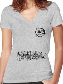 Small Severed Scissors Logo Women's Fitted V-Neck T-Shirt