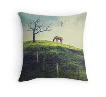 Horse on a Colombian Hillside Throw Pillow