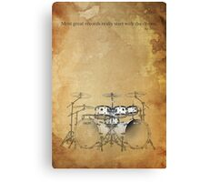 Drums & brown vintage background Canvas Print