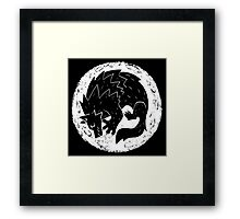 Woodcut Werewolf - White Moon Framed Print