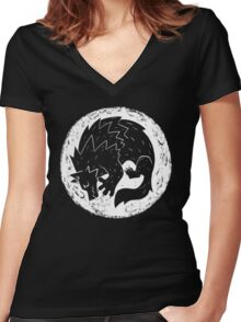 Woodcut Werewolf - White Moon Women's Fitted V-Neck T-Shirt