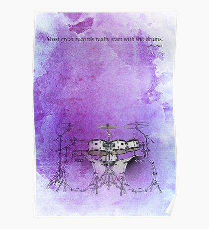 Jazz quote and purple drums Poster
