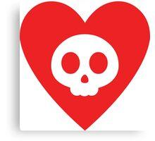 Cute Skull in Heart Canvas Print