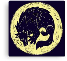 Woodcut Werewolf - Yellow Moon Canvas Print