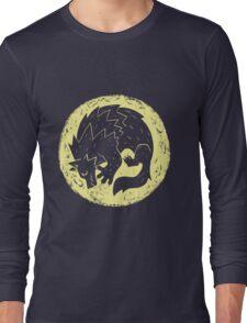 Woodcut Werewolf - Yellow Moon Long Sleeve T-Shirt