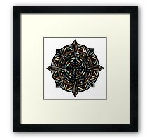 Hand-Drawn Compass Mandala Wood Texture Framed Print