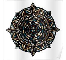 Hand-Drawn Compass Mandala Wood Texture Poster