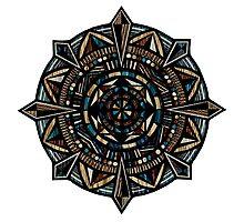 Hand-Drawn Compass Mandala Wood Texture Photographic Print