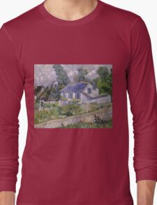 Vincent Van Gogh - Houses at Auvers, December 1885 - February 1886 Long Sleeve T-Shirt
