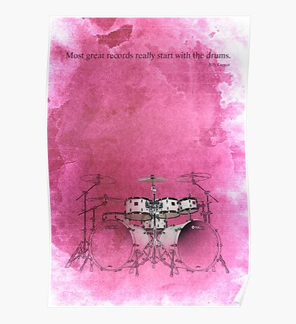 Rock drums & quote for musicians Poster