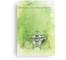 Green background & drums quote Canvas Print
