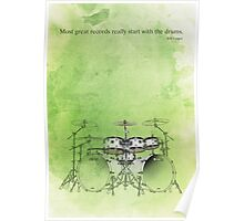 Green background & drums quote Poster