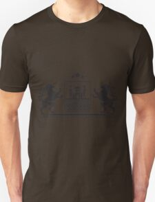 Coat of arms - shield with fortress, brick wall and two standing lions at sides on plinth T-Shirt