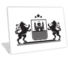 Coat of arms - shield with fortress, brick wall and two standing lions at sides on plinth Laptop Skin