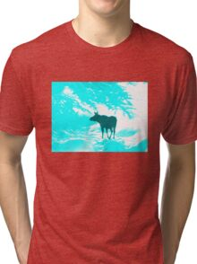 Turquoise Moose on the loose!  Tri-blend T-Shirt