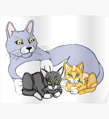 Mothers Love Cat and Kittens Poster