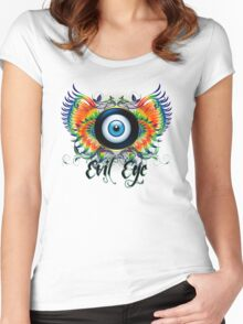 PRETTY WINGED EVIL EYE Women's Fitted Scoop T-Shirt