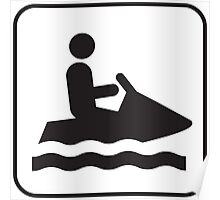 Black and White Jet Ski Icon Silhouette Poster
