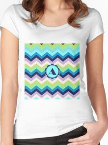 A Turquois Chevron III Women's Fitted Scoop T-Shirt