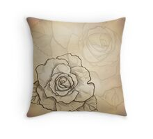 Sketch rose background Throw Pillow