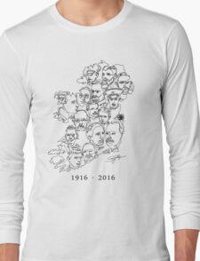 1916 commemorative print: Black on White Long Sleeve T-Shirt
