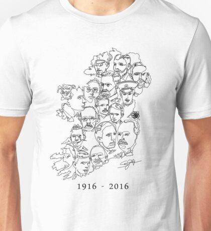 1916 commemorative print: Black on White Unisex T-Shirt