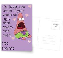 Patrick Spongebob Valentine Card Funny Postcards