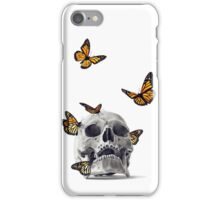 Skull with Monarch Butterflies iPhone Case/Skin