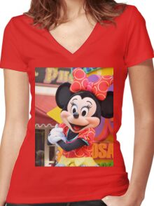 Minnie Mouse Women's Fitted V-Neck T-Shirt