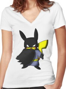 Batchu --- Pikachu as Batman Women's Fitted V-Neck T-Shirt