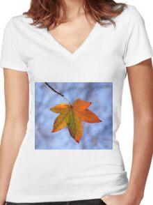 Autumn Leaf Backlit Women's Fitted V-Neck T-Shirt
