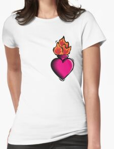 Heart Vase with Flames Womens Fitted T-Shirt
