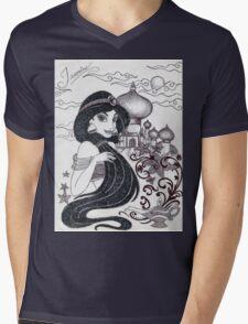 Monochrome Princess J Mens V-Neck T-Shirt