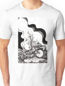 Enigmatic Ocean, Ink Drawing Unisex T-Shirt