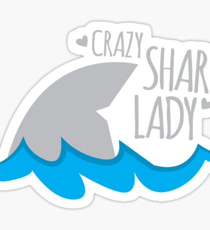 Crazy Shark lady Sticker
